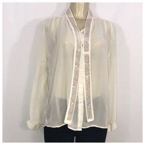 Beige Button Down Sheer Blouse Small